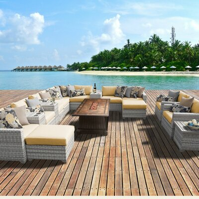 Fairmont Outdoor Wicker 17 Piece Fire Pit Seating Group with Cushion Fabric: Sesame