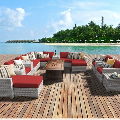 Fairmont Outdoor Wicker 17 Piece Fire Pit Seating Group with Cushion Fabric: Terracotta