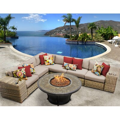 Cape Cod Outdoor Wicker 9 Piece Fire Pit Seating Group with Cushion Fabric: Wheat