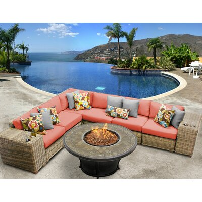 Cape Cod Outdoor Wicker 9 Piece Fire Pit Seating Group with Cushion Fabric: Tangerine