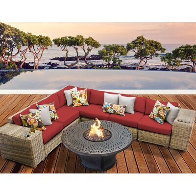 Cape Cod Outdoor Wicker 9 Piece Fire Pit Seating Group with Cushion Fabric: Terracotta