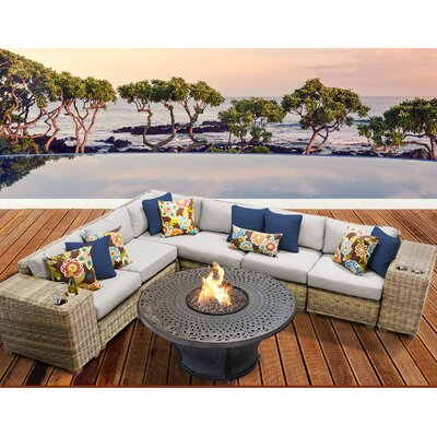 Cape Cod Outdoor Wicker 9 Piece Fire Pit Seating Group with Cushion Fabric: Beige