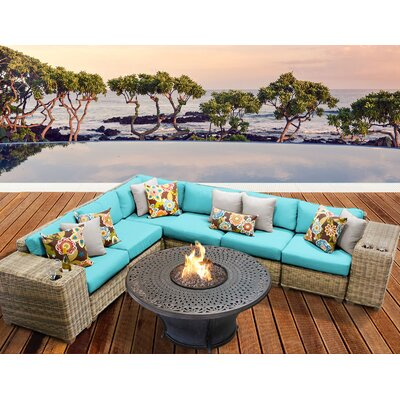 Cape Cod Outdoor Wicker 9 Piece Fire Pit Seating Group with Cushion Fabric: Aruba