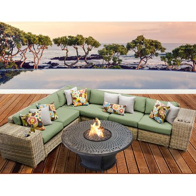 Cape Cod Outdoor Wicker 9 Piece Fire Pit Seating Group with Cushion Fabric: Cilantro