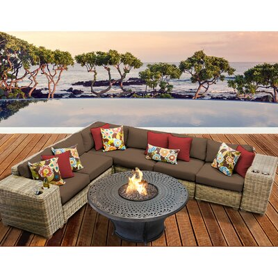 Cape Cod Outdoor Wicker 9 Piece Fire Pit Seating Group with Cushion Fabric: Cocoa