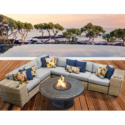 Cape Cod Outdoor Wicker 9 Piece Fire Pit Seating Group with Cushion Fabric: Grey