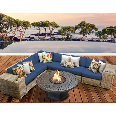 Cape Cod Outdoor Wicker 9 Piece Fire Pit Seating Group with Cushion Fabric: Navy