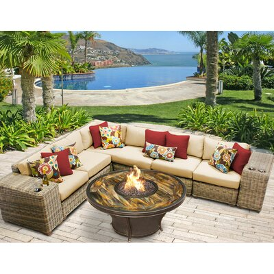 Cape Cod Outdoor Wicker 9 Piece Fire Pit Seating Group with Cushion Fabric: Sesame