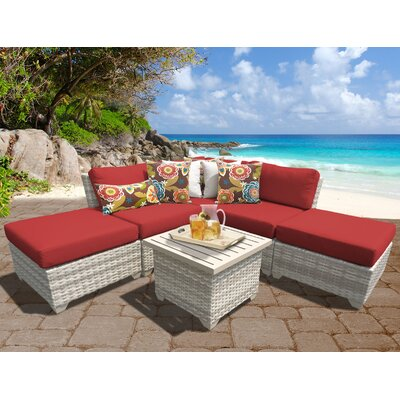 Fairmont Outdoor Wicker 6 Piece Deep Seating Group with Cushion Fabric: Terracotta