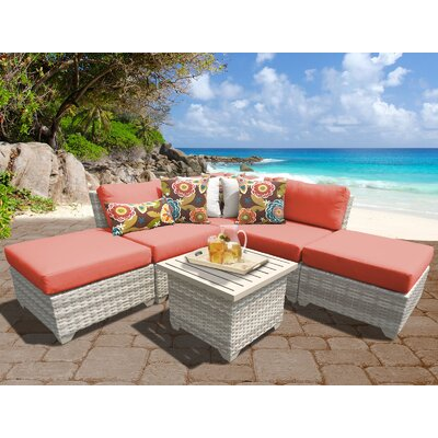 Fairmont Outdoor Wicker 6 Piece Deep Seating Group with Cushion Fabric: Tangerine
