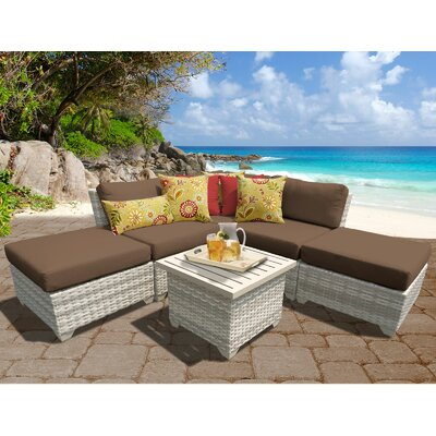 Fairmont Outdoor Wicker 6 Piece Deep Seating Group with Cushion Fabric: Cocoa
