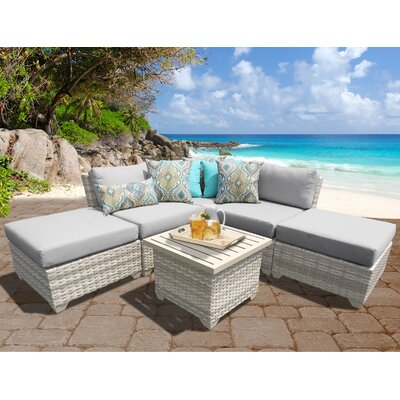 Fairmont Outdoor Wicker 6 Piece Deep Seating Group with Cushion Fabric: Grey