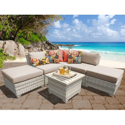 Fairmont Outdoor Wicker 6 Piece Deep Seating Group with Cushion Fabric: Wheat