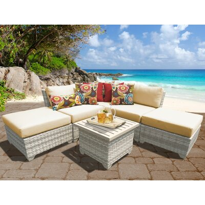 Fairmont Outdoor Wicker 6 Piece Deep Seating Group with Cushion Fabric: Sesame