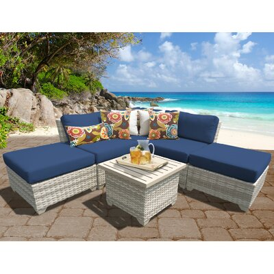 Fairmont Outdoor Wicker 6 Piece Deep Seating Group with Cushion Fabric: Navy