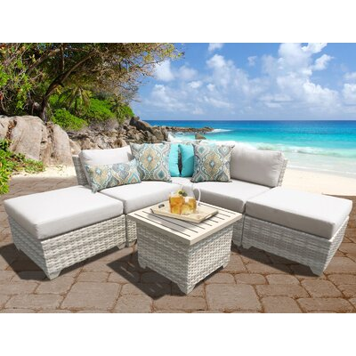 Fairmont Outdoor Wicker 6 Piece Deep Seating Group with Cushion Fabric: Beige