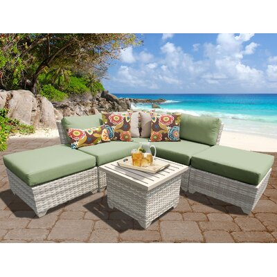 Fairmont Outdoor Wicker 6 Piece Deep Seating Group with Cushion Fabric: Cilantro
