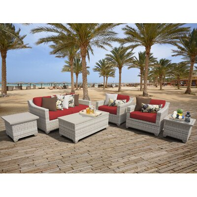 Fairmont Outdoor Wicker 7 Piece Deep Seating Group with Cushion Fabric: Terracotta