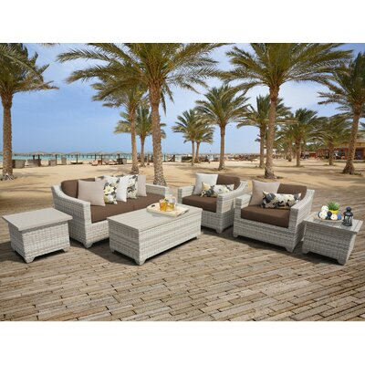 Fairmont Outdoor Wicker 7 Piece Deep Seating Group with Cushion Fabric: Cocoa