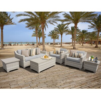 Fairmont Outdoor Wicker 7 Piece Deep Seating Group with Cushion Fabric: Grey