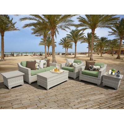 Fairmont Outdoor Wicker 7 Piece Deep Seating Group with Cushion Fabric: Cilantro