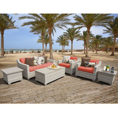 Fairmont Outdoor Wicker 7 Piece Deep Seating Group with Cushion Fabric: Tangerine