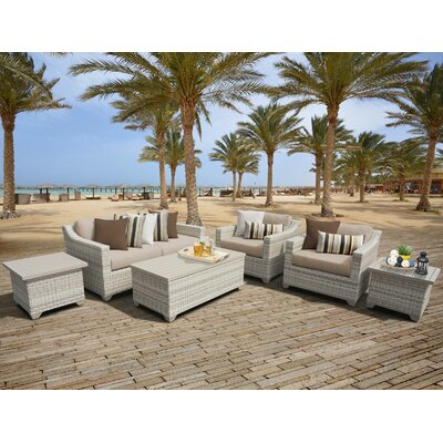 Fairmont Outdoor Wicker 7 Piece Deep Seating Group with Cushion Fabric: Wheat