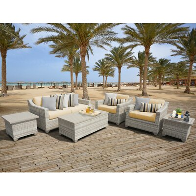 Fairmont Outdoor Wicker 7 Piece Deep Seating Group with Cushion Fabric: Sesame