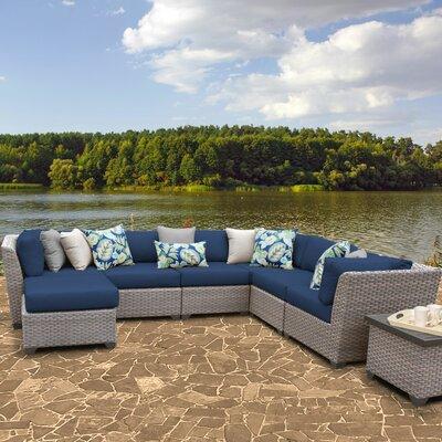 Florence Outdoor Wicker 9 Piece Sectional Seating Group with Cushion Fabric: Navy