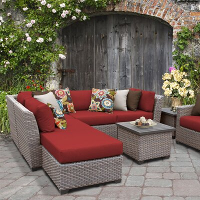 Florence Outdoor Wicker 8 Piece Sectional Seating Group with Cushion Fabric: Terracotta