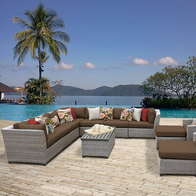 Florence Outdoor Wicker 13 Piece Sectional Seating Group with Cushion Fabric: Cocoa