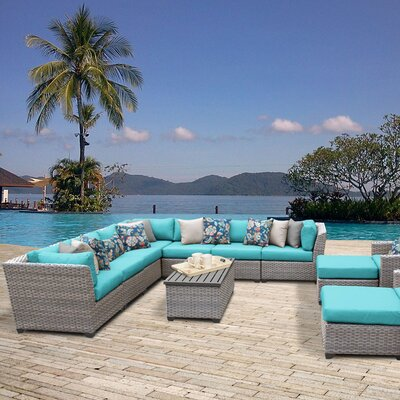 Florence Outdoor Wicker 13 Piece Sectional Seating Group with Cushion Fabric: White
