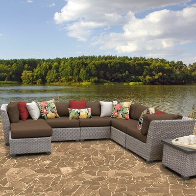 Florence Outdoor Wicker 9 Piece Sectional Seating Group with Cushion Fabric: Cocoa