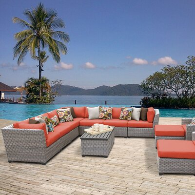 Florence Outdoor Wicker 13 Piece Sectional Seating Group with Cushion Fabric: Tangerine