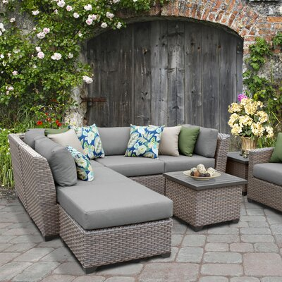 Florence Outdoor Wicker 8 Piece Sectional Seating Group with Cushion Fabric: Gray
