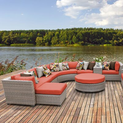 Florence Outdoor Wicker 12 Piece Sectional Seating Group with Cushion Fabric: Tangerine