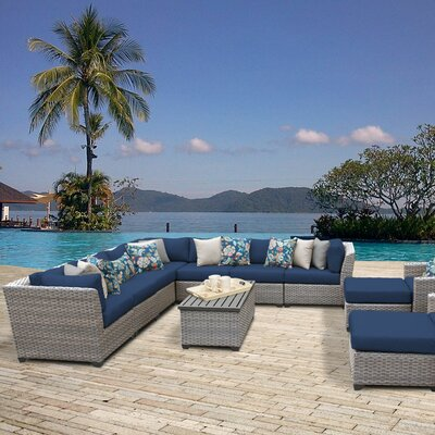 Florence Outdoor Wicker 13 Piece Sectional Seating Group with Cushion Fabric: Navy