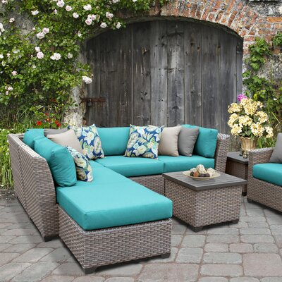 Florence Outdoor Wicker 8 Piece Sectional Seating Group with Cushion Fabric: Aruba