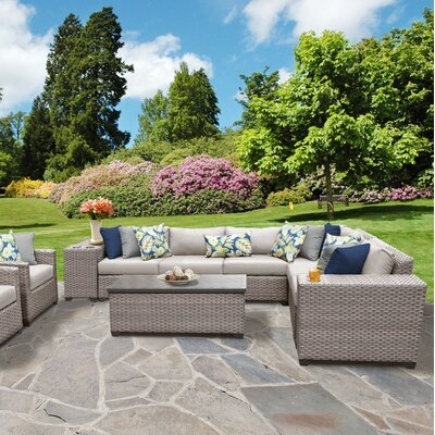 Florence Outdoor Wicker 11 Piece Sectional Seating Group with Cushion Fabric: Beige