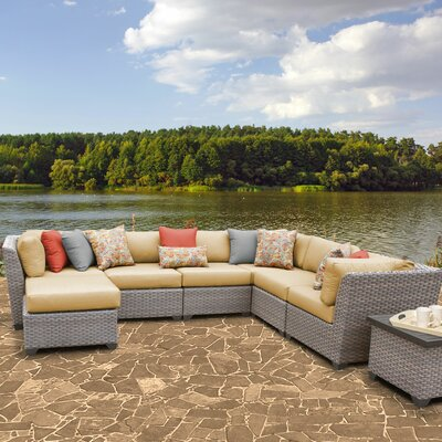 Florence Outdoor Wicker 9 Piece Sectional Seating Group with Cushion Fabric: Sesame