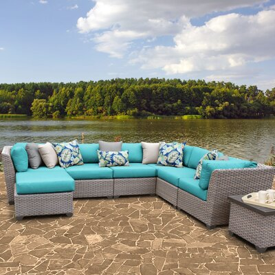 Florence Outdoor Wicker 9 Piece Sectional Seating Group with Cushion Fabric: Aruba