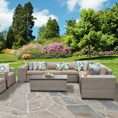 Florence Outdoor Wicker 11 Piece Sectional Seating Group with Cushion Fabric: Wheat