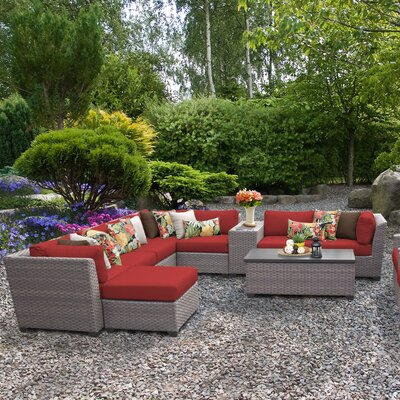 Florence Outdoor Wicker 12 Piece Sectional Seating Group with Cushion Fabric: Terracotta
