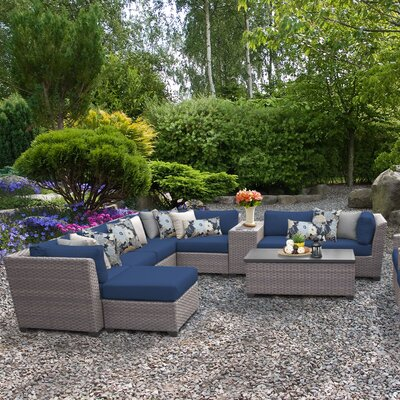 Florence Outdoor Wicker 12 Piece Sectional Seating Group with Cushion Fabric: Navy