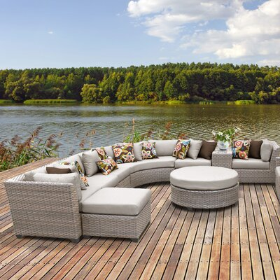 Florence Outdoor Wicker 12 Piece Sectional Seating Group with Cushion Fabric: Beige