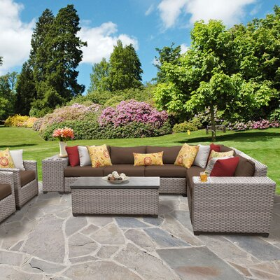 Florence Outdoor Wicker 11 Piece Sectional Seating Group with Cushion Fabric: Cocoa
