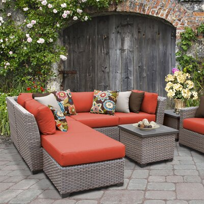 Florence Outdoor Wicker 8 Piece Sectional Seating Group with Cushion Fabric: Tangerine