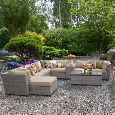 Florence Outdoor Wicker 12 Piece Sectional Seating Group with Cushion Fabric: Wheat
