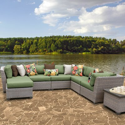 Florence Outdoor Wicker 9 Piece Sectional Seating Group with Cushion Fabric: Cilantro