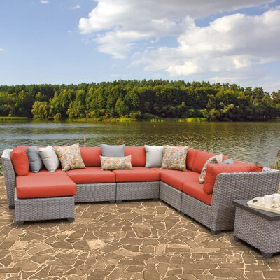 Florence Outdoor Wicker 9 Piece Sectional Seating Group with Cushion Fabric: Tangerine
